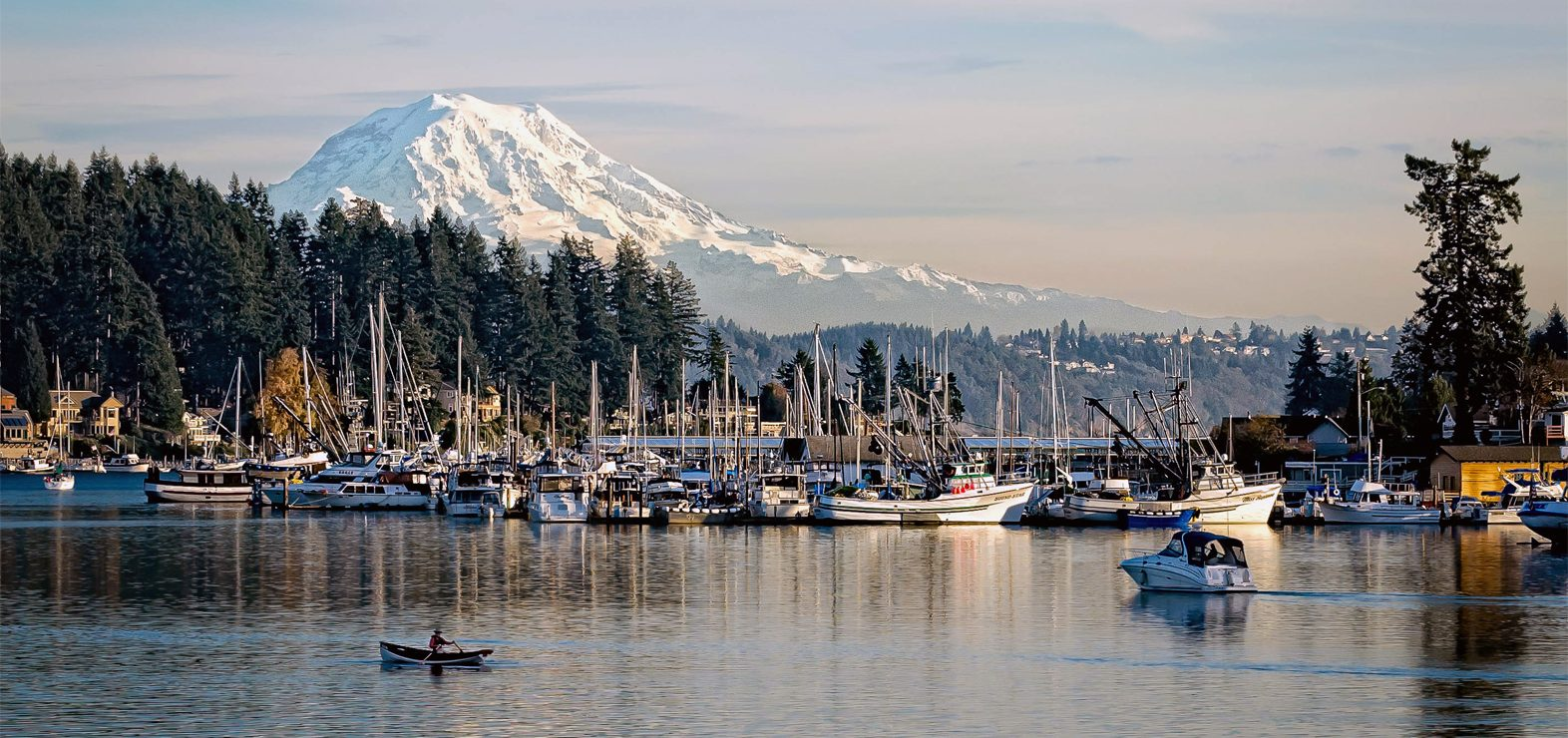 View of Mount Rainier and Gig Harbor Bay
