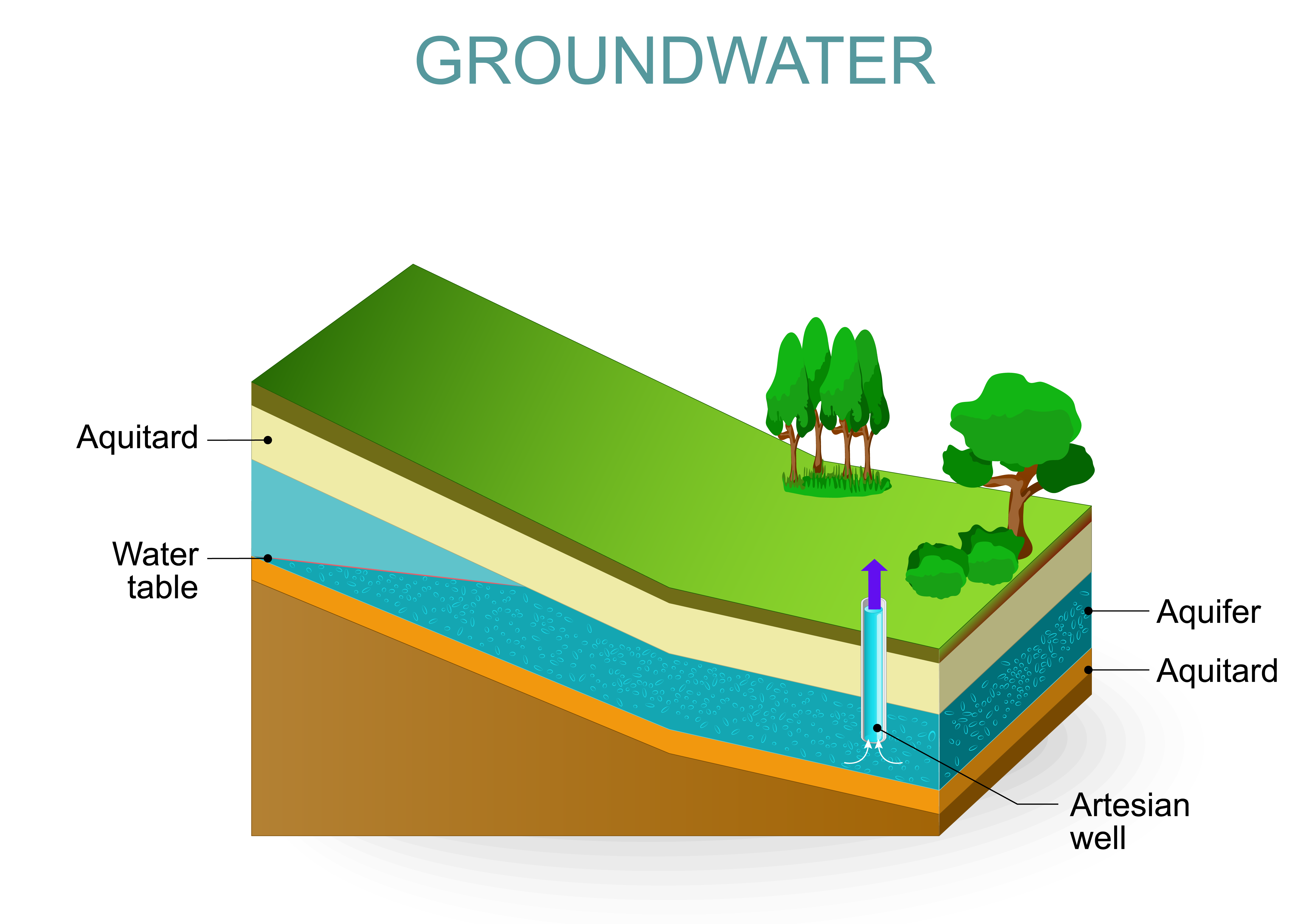Graphic of artisan well and aquifer